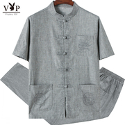 Special offer every day Dad summer set in elderly male dandy cotton two piece outfit linen grandpa