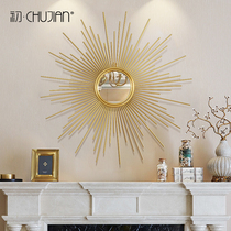 European Light Luxury Metal Wall Decoration Restaurant Living Room Sun Circular Mirror Background Wall American Wall Decoration