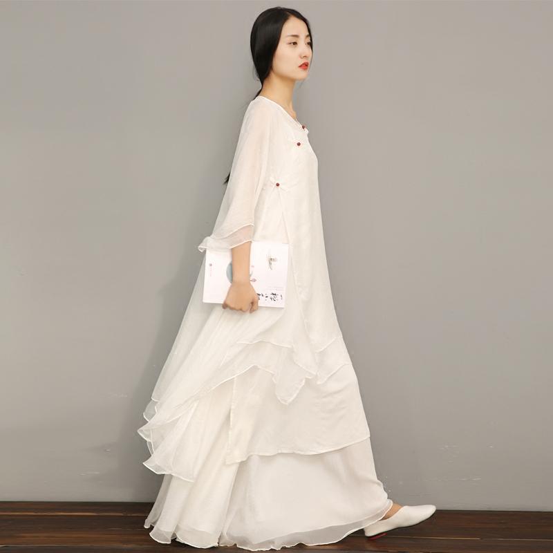 Qingyang Chinese style white zen meditation Zen dance female Hanfu literature and art loose medium long dress two sets