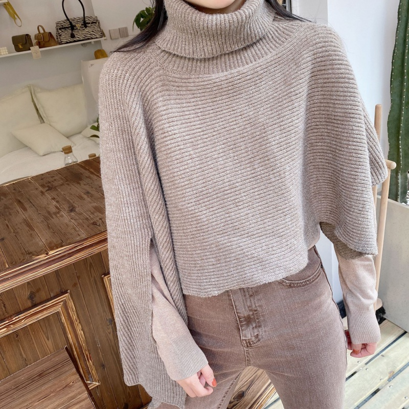Autumn and winter new high-necked fashion shawl Korean version of the fashion loose open fork cape knitted top female high-necked shawl tide