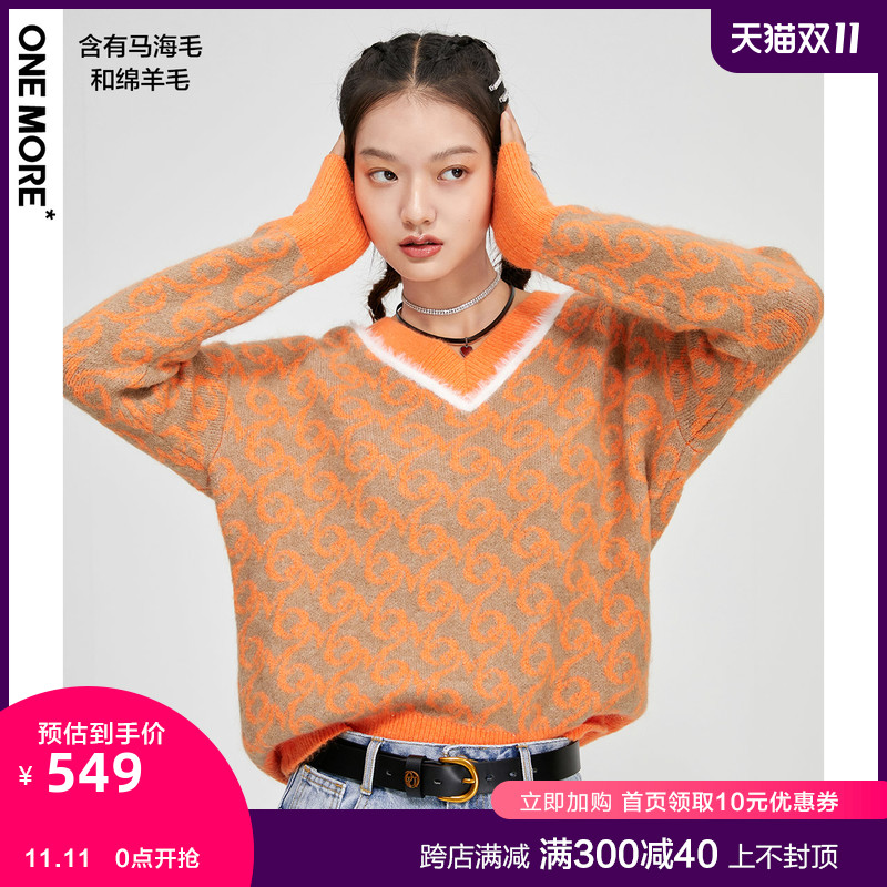 (Same model for shopping malls) ONE MORE2020 Winter New V-NeckEd Blossom Line Sweater A1MAA409B25