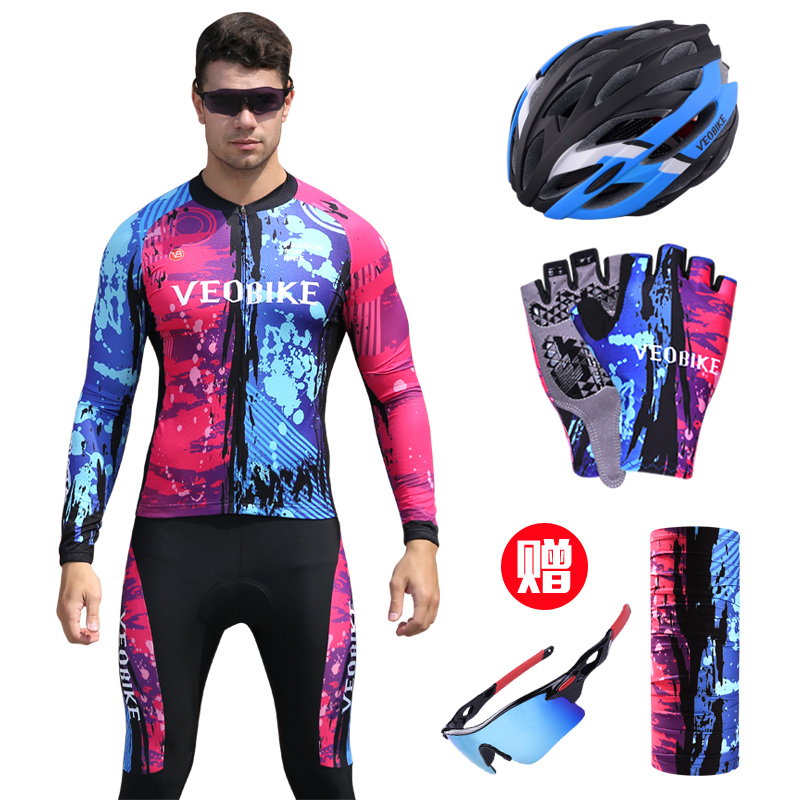 Only sport version of cycling suit men's long sleeve suit spring, summer and autumn mountain bike equipment cycling trousers