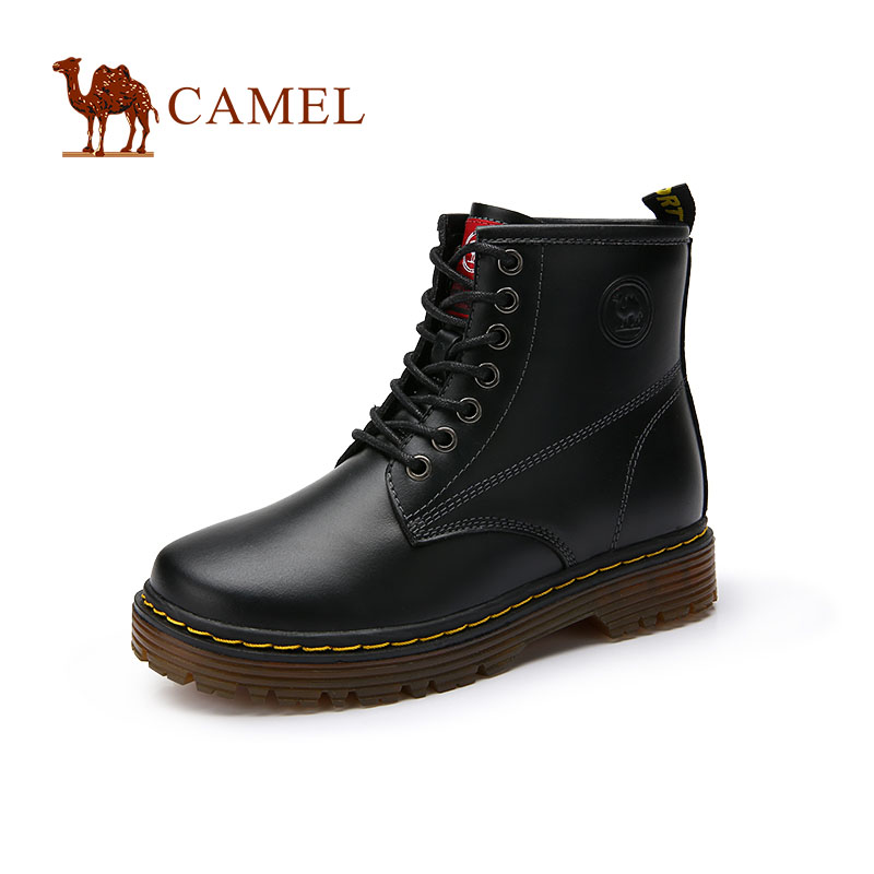 [The goods stop production and no stock]CAMEL camel couple models women's shoes 2018 new fashion Martin boots leather England high-top lace boots