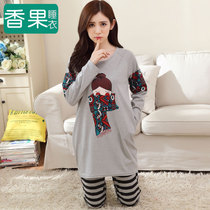 Pajamas women 's autumn cotton long - sleeved Korean version can be worn in long paragraph striped cotton loose home clothing suits