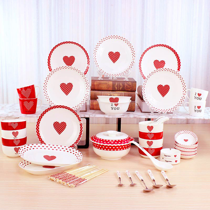 Set of bowls and dishes Red love white ceramics tableware Household bowls and dishes Korean ceramics bowl sets bowls and chopsticks relocation