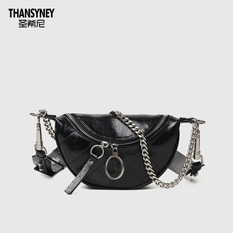 Saint Heaney Bag Girl Bag New Type 2019 Slant Bag Small CK Leather Embroidery Link Chain Single Shoulder Waist Bag