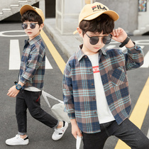 Boys shirt grid 2020 new autumn dress long-sleeved childrens personality trend handsome spring autumn plus velvet jacket shirt