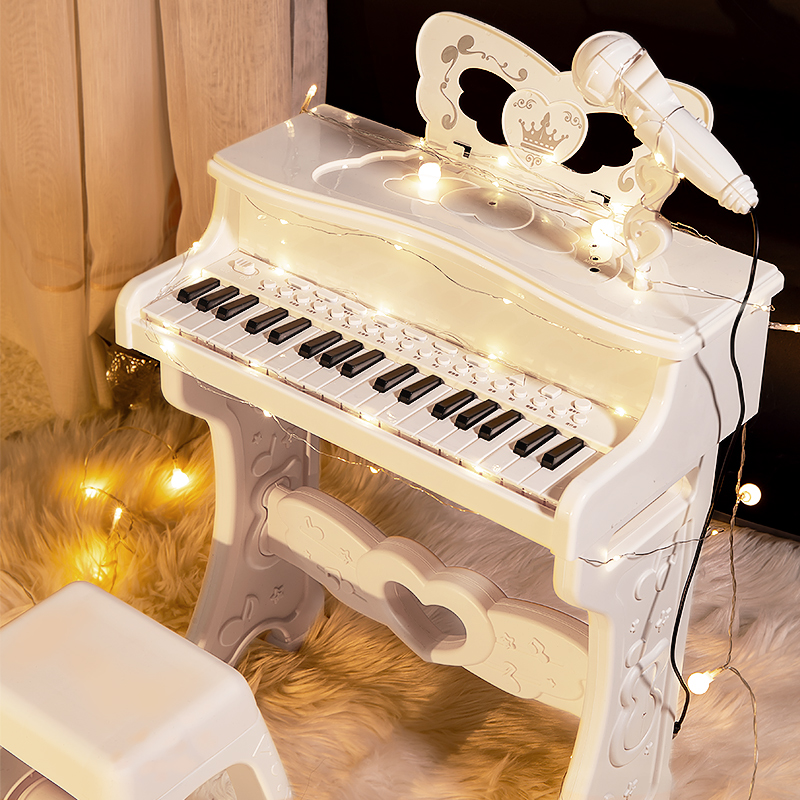 Childrens piano toys multi-functional electronic piano with microphone beginner girl baby 3 years old 5 children birthday gift