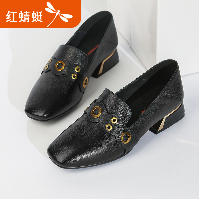 Red 蜻蜓 women's shoes 2018 spring new fashion retro single shoes metal buckle buckle square head shallow mouth low heel shoes women