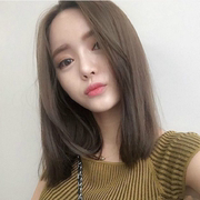 South Korea female wig short straight hair in bangs hair natural clavicle shoulder length hair fluffy round buckle in