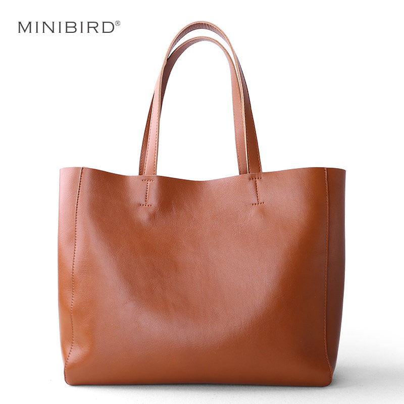Baggage Girl 2019 New Single Shoulder True Leather Bag Fashion Simple Head Cowhide Large Capacity Commuter Todd Bag