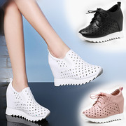 10cm increased in spring and summer breathable shoes hollow white shoe female Han all-match thick bottom leather casual shoes Muffin