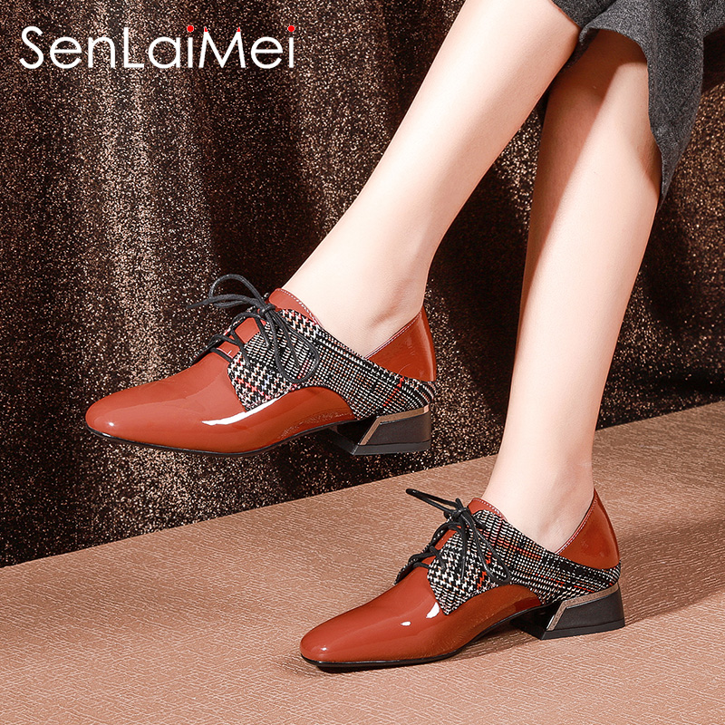 2018 new spring and autumn deep mouth single shoes female flat bottom with patent leather flat with autumn shoes fashion low with large size women's shoes