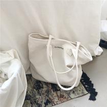 2019 новая корейская версия простой дикий белый большой емкости холст сумка женщина одно плечо досуг литература сумка для студентов