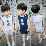 2017 new boys summer cotton vest suit 0-1-2-3-4 years old baby infant children's movement