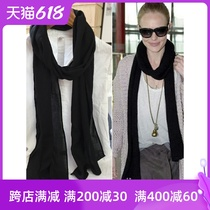 Black narrow and slender cotton scarf womens summer and autumn thin solid color wild long decorative neck scarf scarf