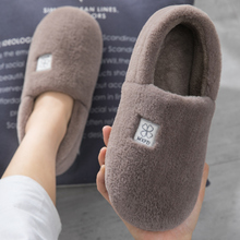 Men's cotton slippers, winter household, thick bottomed household, indoor warm plush and all cotton flannel women winter.