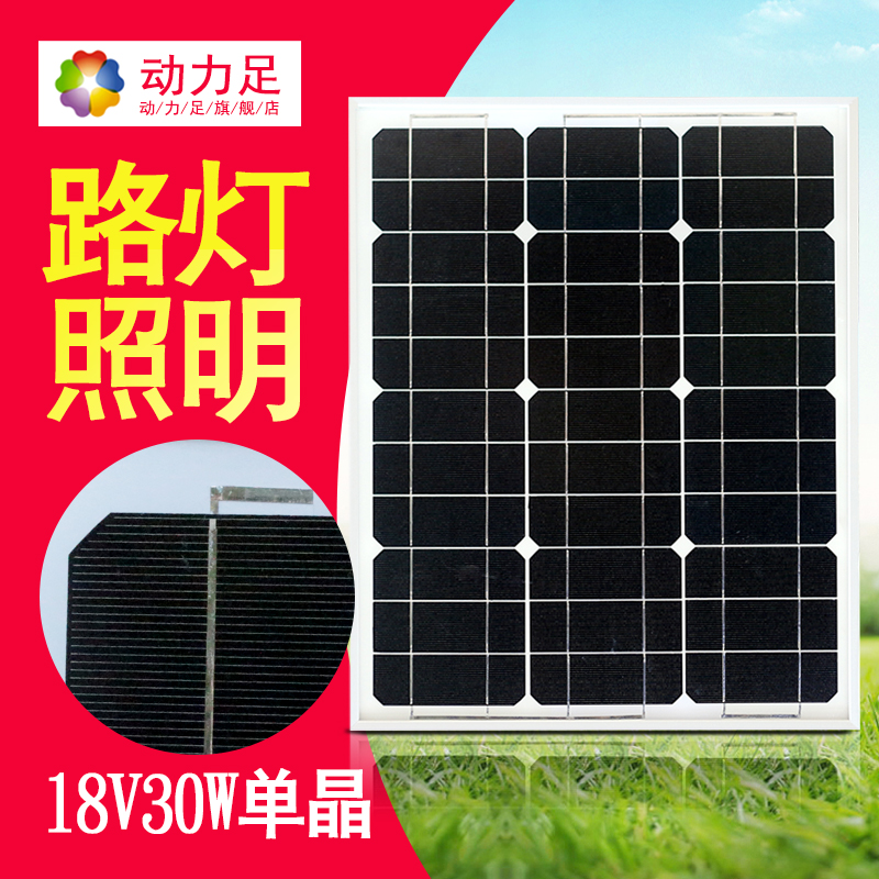 Dynamic foot solar panel 30W single crystal 12V solar power mobile phone charging home power generation system photovoltaic panel