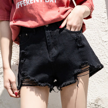 Jeans Shorts Female Summer 2019 New Korean Version Loose, Hollow, High waist, Slim, Black A-shaped Fur-edged Hot Pants