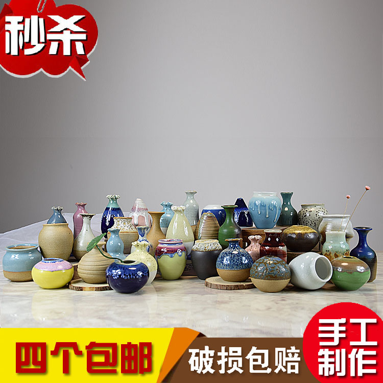 Jingdezhen Ceramics Creative Handmade Clay Flower Ware Modern Home Decoration Mini-decorative flower vase