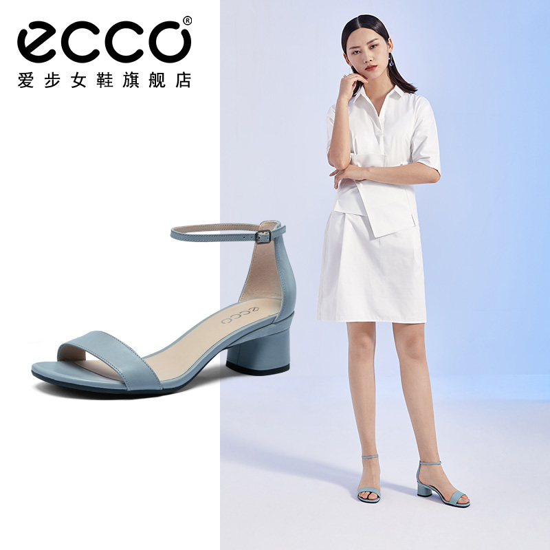 Ecco women's walking shoes 2020 new one word with professional high heels plastic elegant 45 thick HEELS SANDALS 290103