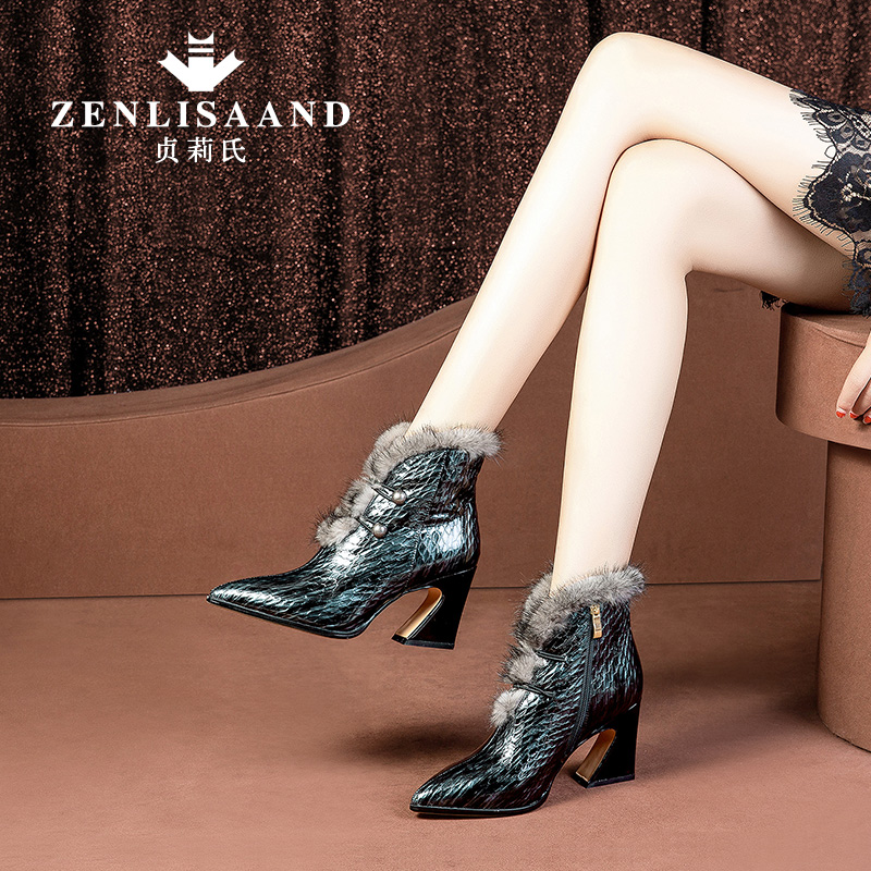 Winter Boots New Shoe Tip High-heeled Women's Shoes Genuine Mink Fur Boots Children Thick-heeled Martin Boots Plush Women's Boots