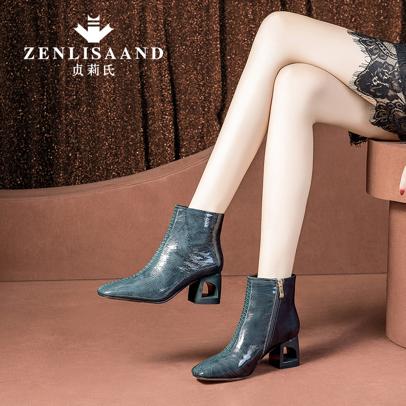 Square-headed Shoe Girls Winter 2018 New Coarse-heeled Painted Leather Boots Fashion High-heeled Shoes and Suede Women's Shoes Martin Boots A