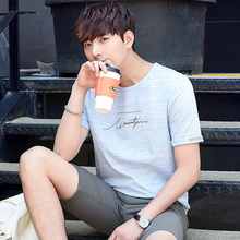 2 new summer men's short sleeved T-shirt, Korean version, baggy student T-shirt, half sleeved clothes trend.