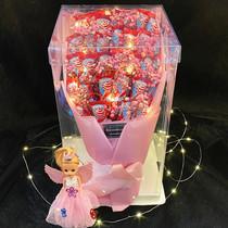 Creative ins lollipop bouquet high-end transparent gift box cartoon bouquet birthday holiday Valentines Day teachers day