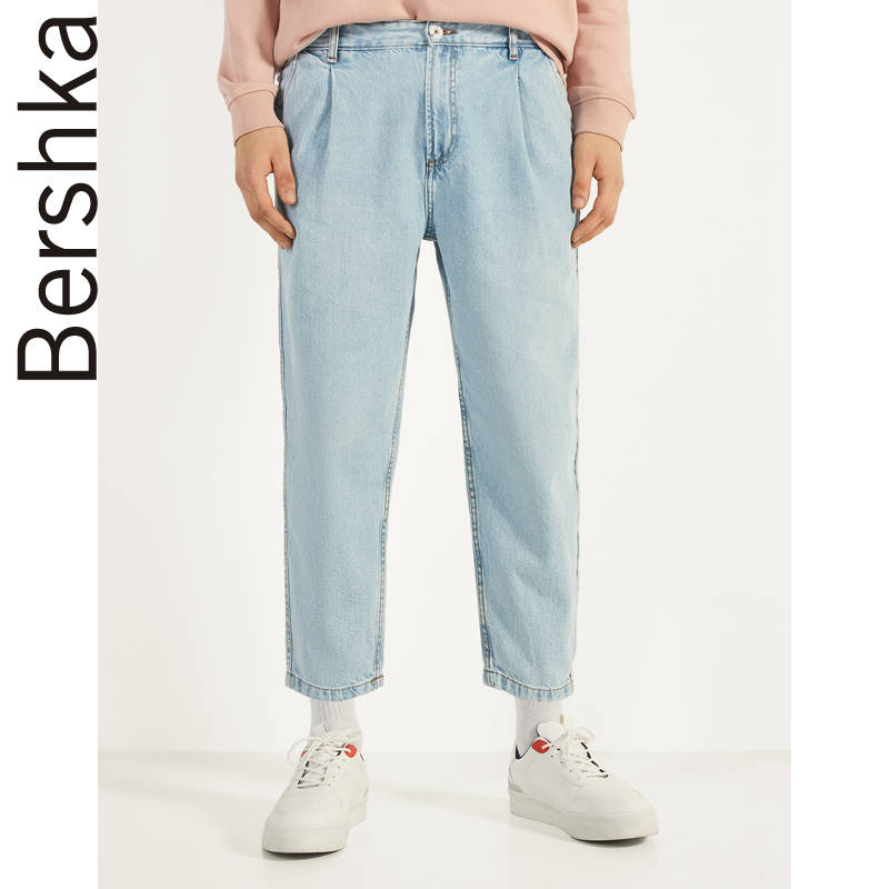 Bershka men's new spring 2020 light blue baggy lantern dad jeans 00248251433