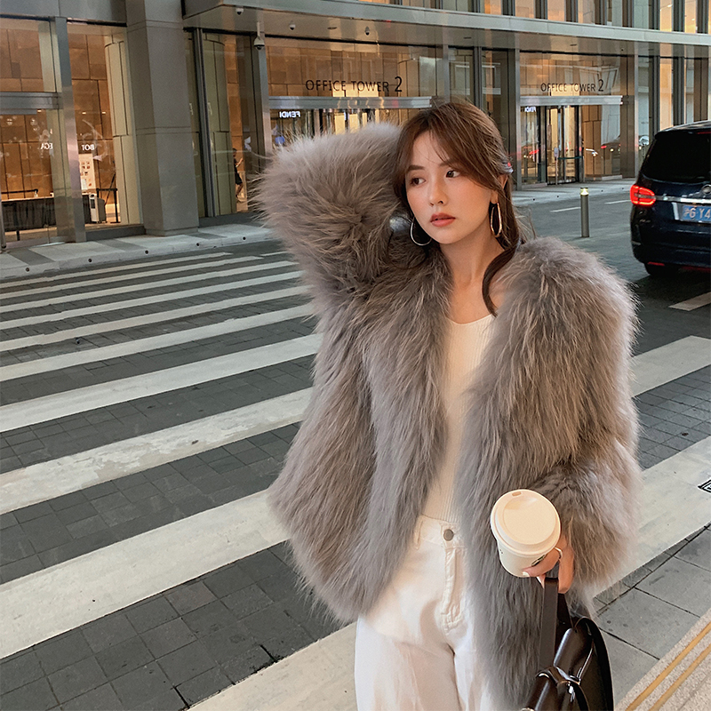 2020 autumn and winter new raccoon fur double-sided woven fur coat women's mid-length fur hair Haining young fashion