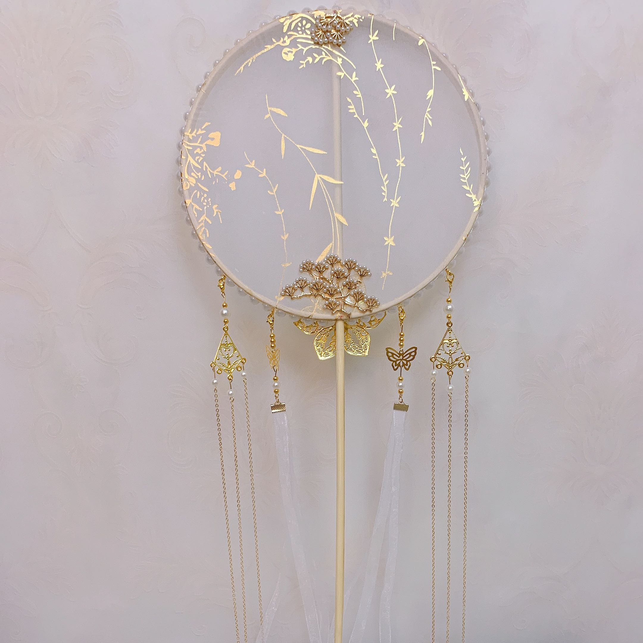 Liuzhi Ancient Wind Long Handle Tuan Fan Handmade Classical Finished Palace Fan DIY Material Packed Round Fan Hanfu Photography