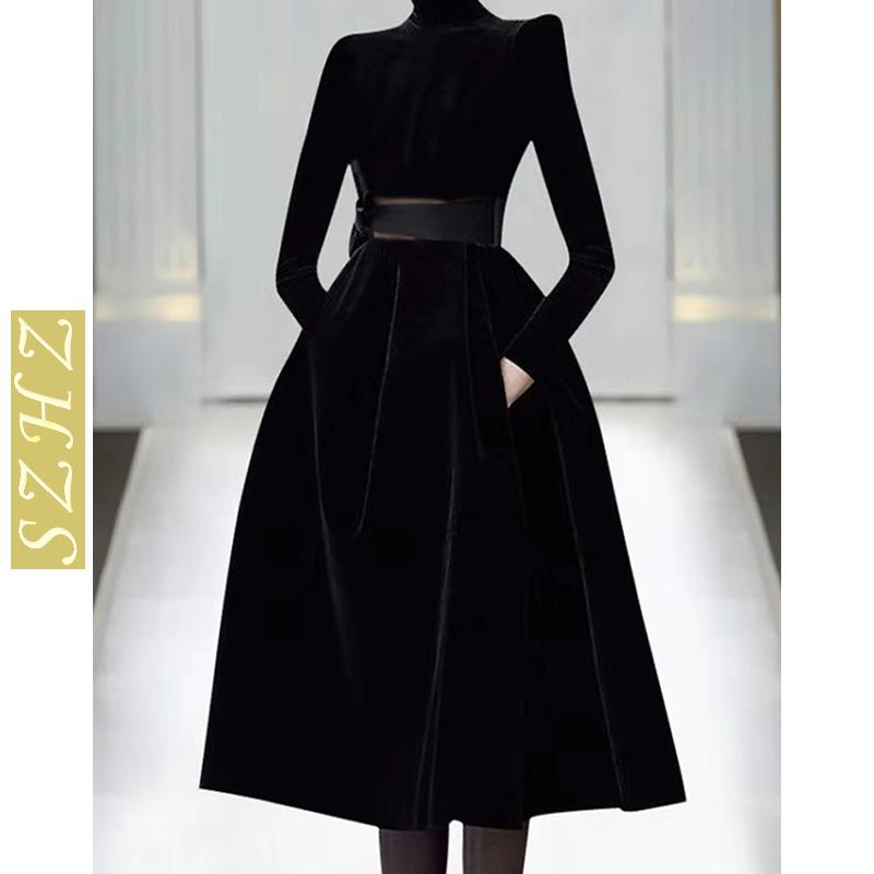 Counter 2020 autumn winter new high-end womens fashion catwalk skirt black thin temperament velvet dress