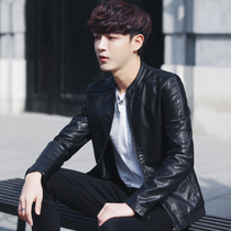 2018 Winter new casual plus velvet thick leather jacket male Korean slim trend handsome young leather jacket