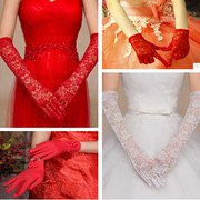 The bride wedding dress gloves red white lace gloves wedding wedding wedding gloves short Long Satin Gloves
