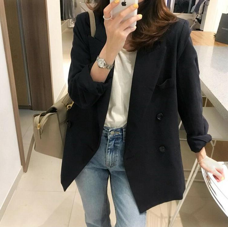 Japanese texture thick suit jacket women's solid color loose blouse workplace OL commuting drape professional small suit autumn
