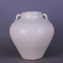 Tang Dynasty white glaze double-line pot antique porcelain playing Dong unearthed old objects ornaments soft decorations Folk collection Jingdezhen