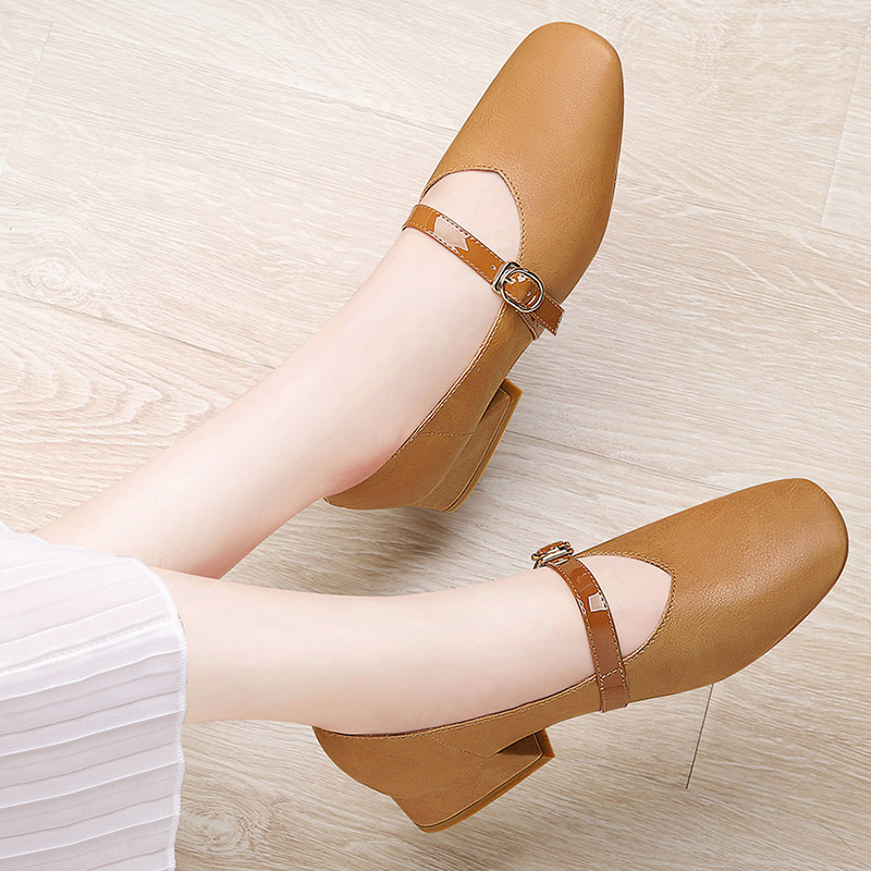 Fashionable Grandma's Shoes Spring 2019 New Rough-heeled Mary Jane's Single Shoes Korean Version 100 Sets of Retro Women's Shoes Summer