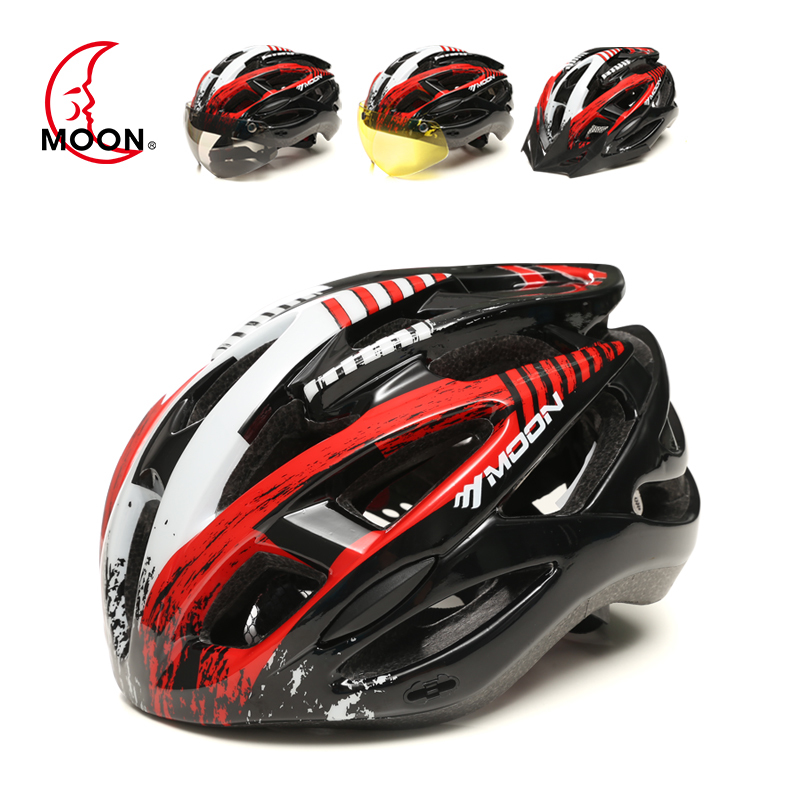 Moon riding helmet goggles riding mountain bike helmet men riding sports equipment bright color bicycle helmet