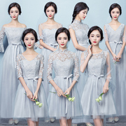 Bridesmaid dresses in the long section of the 2017 new Chinese winter Bridesmaids Dress female gray short skirt dress sisters