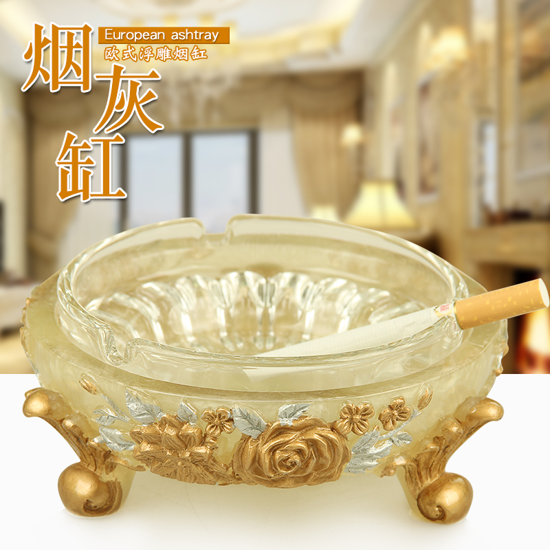 European Banquet Glass Ashtray Double Layer Large Resin Crystal Commercial Ashtray Creative Individual Trend Ashtray Household