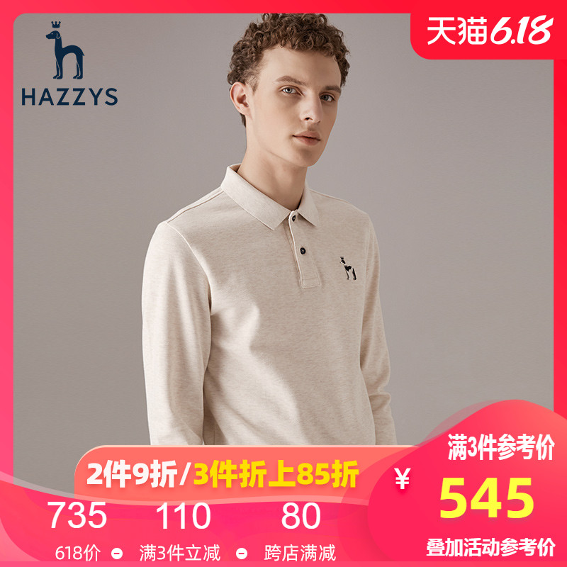 Hazzys new men's T-shirt Han style casual long sleeve solid color polo men's trend