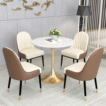 Nordic light luxury 巖 table hotel reception negotiating table and chair sample room display center shop Yangyang simple casual small round table