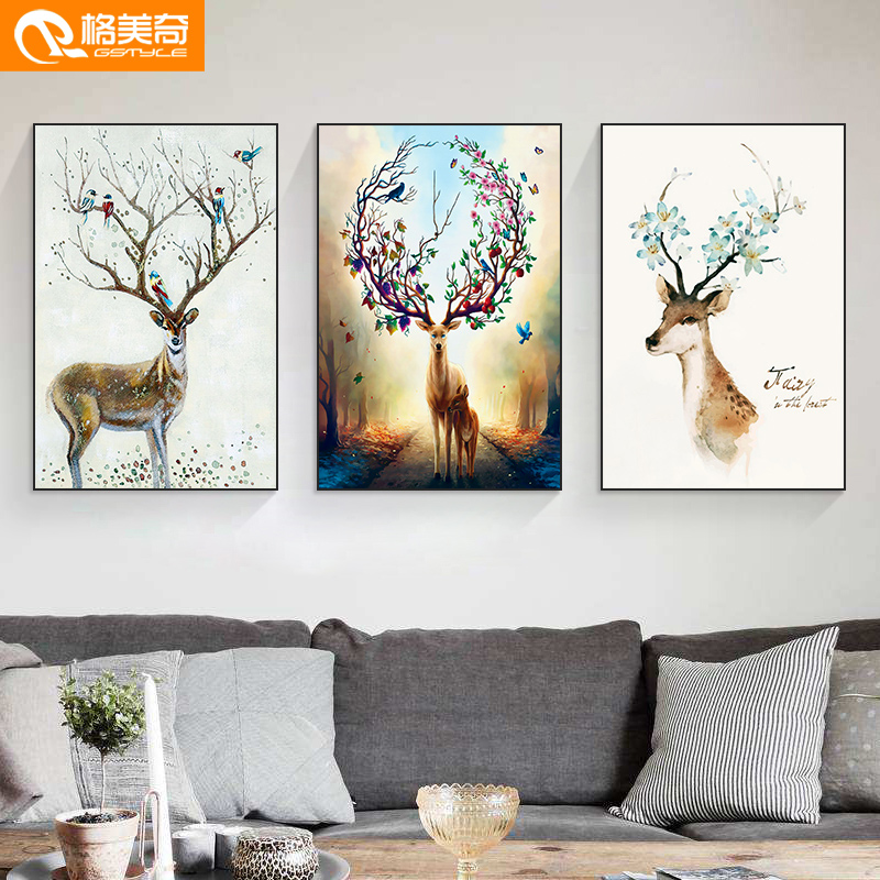 Living room decoration modern simple Nordic mural sofa background wall hanging trilogy dining room wall painting deer