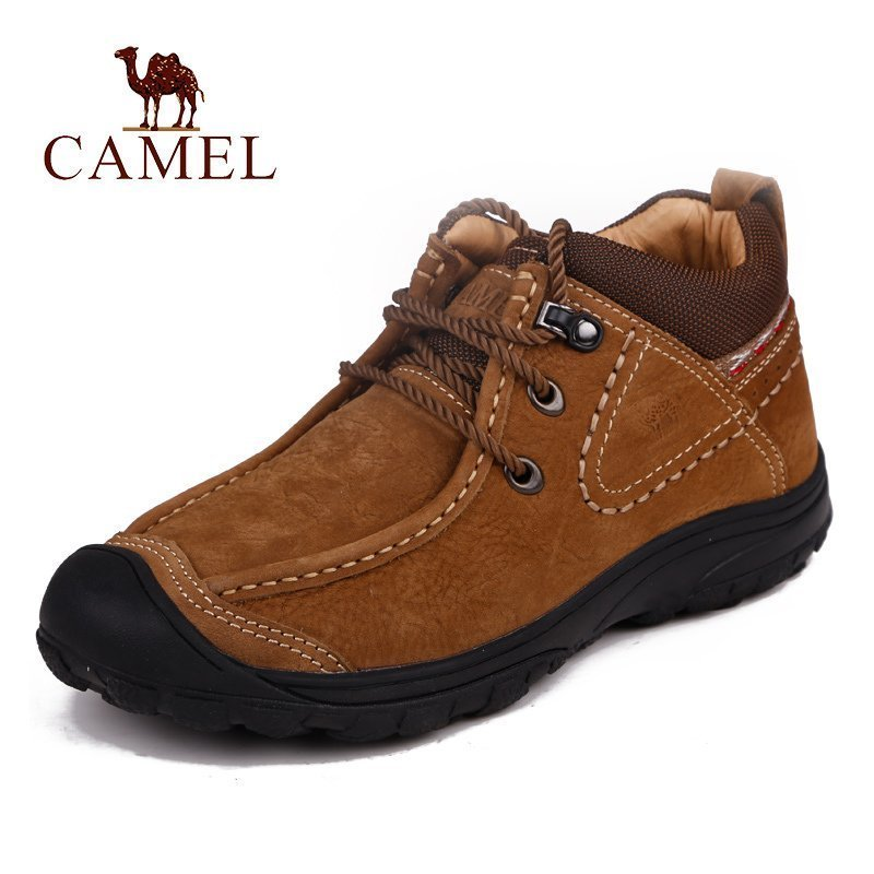 Camel Men's Shoes in Autumn and Winter New Cotton Leather for Warm and Comfortable Outdoor Leisure Shoes, Low-Up Cotton Boots and Suede Shoes