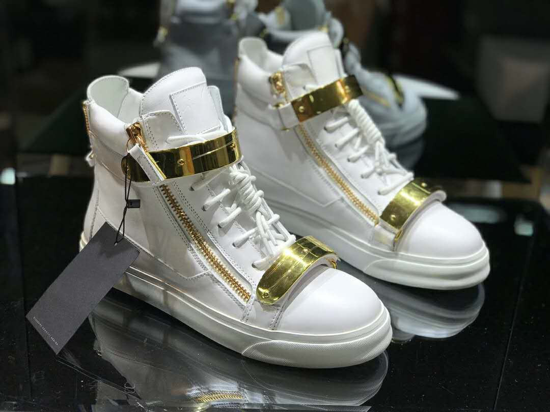 20 new European and American stations GZ high top men's shoes white leather double gold buckle GZC flat casual sports shoes trendy shoes