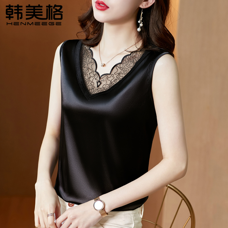 Summer V-neck lace camisole womens suit with large size satin design sense outside the bottom top