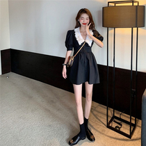 French doll collar black skirt womens 2021 new summer waist thin temperament bubble sleeve dress