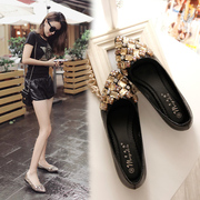 Spring 2017 shoes black shoes female flat diamond pointed flat with shallow mouth shoe all-match Big Dipper code shoes tide