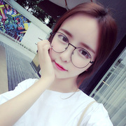 Han Wenyi round metal spectacle frame retro tide flat mirror decoration with glasses glasses and full frame